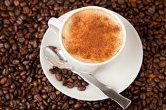 Φρέσκο φλιτζάνι του καφέ την κανέλα που ψεκάζεται με στην κορυφή Στοκ Εικόνα