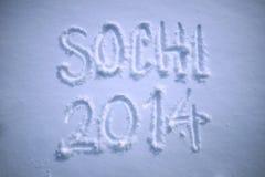 Φρέσκο χιόνι χειμερινών μηνυμάτων του Sochi 2014 Στοκ εικόνα με δικαίωμα ελεύθερης χρήσης