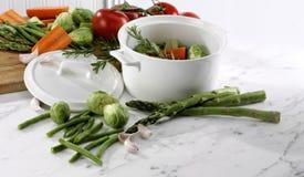 Φρέσκο χορτοφάγο καυτό δοχείο κήπων στοκ εικόνες