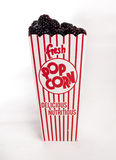 Φρέσκο χύσιμο βατόμουρων από popcorn το εμπορευματοκιβώτιο Στοκ Εικόνες