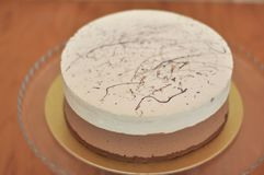 Φρέσκο ψημένο κέικ cappuccino στο ξύλο στοκ φωτογραφία με δικαίωμα ελεύθερης χρήσης