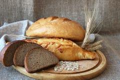Φρέσκο ψωμί και διαφορετικοί τύποι στοκ εικόνα