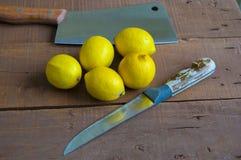 Φρέσκο juicy λεμόνι πάνω από τη σαλάτα και φρέσκος για τα ψάρια Στοκ Εικόνα