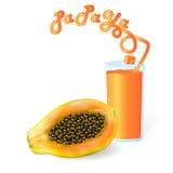 Φρέσκο ocktail papaya Ñ  με το σωλήνα Στοκ Φωτογραφία