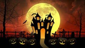 Φρίκη Castle με το φεγγάρι στο κόκκινο υπόβαθρο διανυσματική απεικόνιση
