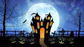Φρίκη Castle με το φεγγάρι στο μπλε υπόβαθρο απεικόνιση αποθεμάτων