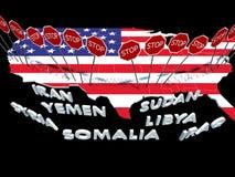 Φραγμένοι οι ΗΠΑ πολίτες επτά χωρών μουσουλμανικός-πλειοψηφίας από να μπεί στις ΗΠΑ στοκ φωτογραφία με δικαίωμα ελεύθερης χρήσης