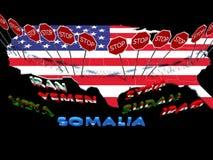 Φραγμένοι οι ΗΠΑ πολίτες επτά χωρών μουσουλμανικός-πλειοψηφίας Στοκ εικόνα με δικαίωμα ελεύθερης χρήσης