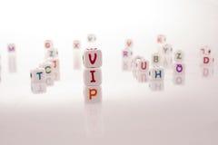 Φραγμοί αλφάβητου και ο VIP λέξης Στοκ Φωτογραφίες