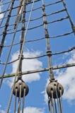 Φραγμοί και ξάρτια παλαιό sailboat Στοκ εικόνες με δικαίωμα ελεύθερης χρήσης