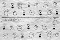 Φραγμός αναζήτησης με τα εικονίδια & τις ετικέττες ρολογιών για τη χρονική διαχείριση Στοκ Φωτογραφία
