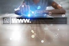 Φραγμός αναζήτησης με το κείμενο www Ιστοχώρος, URL Ψηφιακό μάρκετινγκ μπλε έννοια Διαδίκτυο χρώματος ανασκόπησης Στοκ εικόνες με δικαίωμα ελεύθερης χρήσης