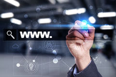 Φραγμός αναζήτησης με το κείμενο www Ιστοχώρος, URL Ψηφιακό μάρκετινγκ μπλε έννοια Διαδίκτυο χρώματος ανασκόπησης στοκ φωτογραφία