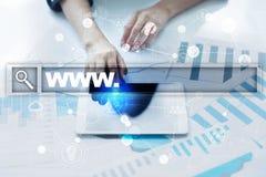 Φραγμός αναζήτησης με το κείμενο www Ιστοχώρος, URL Ψηφιακό μάρκετινγκ Επιχείρηση, Διαδίκτυο και έννοια τεχνολογίας στοκ εικόνα με δικαίωμα ελεύθερης χρήσης