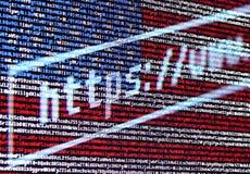 Φραγμός διευθύνσεων της μηχανής αναζήτησης το https://www ενάντια στη σημαία Στοκ φωτογραφία με δικαίωμα ελεύθερης χρήσης