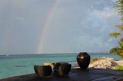 Φραγμός νησιών των Μαλδίβες στις διακοπές ονείρου παραλιών rajnbow Στοκ εικόνες με δικαίωμα ελεύθερης χρήσης