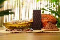 Φραγμός πικρής σοκολάτας, ακατέργαστα φρούτα κακάου, φασόλια κακάου, βούτυρο κακάου στον ξύλινο πίνακα Στοκ εικόνες με δικαίωμα ελεύθερης χρήσης