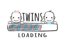 Φραγμός προόδου με την επιγραφή - φόρτωση διδύμων και νεογέννητα πρόσωπα χαμόγελου αγοριών και κοριτσιών στο περιγραμματικό ύφος ελεύθερη απεικόνιση δικαιώματος