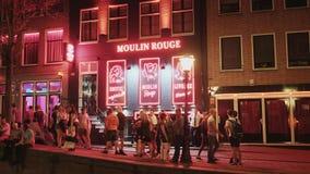 Φραγμός ρουζ Moulin στο Άμστερνταμ - περιοχή κόκκινου φωτός - ΑΜΣΤΕΡΝΤΑΜ - οι ΚΑΤΩ ΧΏΡΕΣ - 19 Ιουλίου 2017 απόθεμα βίντεο