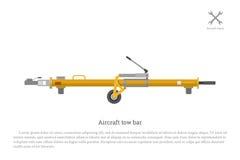 Φραγμός ρυμούλκησης αεροσκαφών Εξοπλισμός αεροπορίας για την επισκευή και τη συντήρηση Στοκ Εικόνες