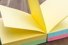 Φραγμός σημειώσεων που ανοίγουν σε μια κίτρινη σελίδα Στοκ Εικόνες
