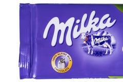Φραγμός σοκολάτας Milka Στοκ Εικόνες