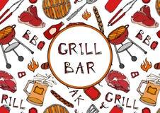 Φραγμός σχαρών Άνευ ραφής σχέδιο θερινό BBQ του κόμματος σχαρών Μπύρα, μπριζόλα, λουκάνικο, πλέγμα σχαρών, λαβίδες, δίκρανο, πυρκ διανυσματική απεικόνιση