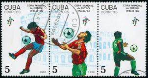 Φραγμός των γραμματοσήμων για το Παγκόσμιο Κύπελλο το 1990 Στοκ Φωτογραφία