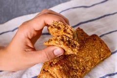 Φραγμός Granola με τα καρύδια, τα φρούτα και τα μούρα Υγιές γλυκό πρόχειρο φαγητό επιδορπίων στοκ φωτογραφία