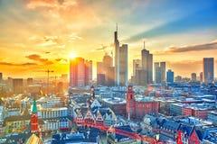 Φρανκφούρτη στο ηλιοβασίλεμα, Γερμανία στοκ εικόνες