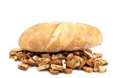Φραντζόλα του ψωμιού και των μπισκότων στο άσπρο υπόβαθρο Στοκ Εικόνες
