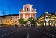 Φραντσησθανή εκκλησία Annunciation και της πλατείας Preseren σε Lju Στοκ εικόνα με δικαίωμα ελεύθερης χρήσης