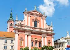 Φραντσησθανή εκκλησία Annunciation, πόλη του Λουμπλιάνα Στοκ φωτογραφία με δικαίωμα ελεύθερης χρήσης