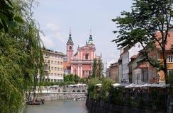Φραντσησθανή εκκλησία Annunciation στο Λουμπλιάνα, Σλοβενία Στοκ Εικόνα
