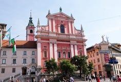 Φραντσησθανή εκκλησία Annunciation στο Λουμπλιάνα, Σλοβενία Στοκ Φωτογραφία