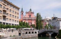 Φραντσησθανή εκκλησία Annunciation στο Λουμπλιάνα, Σλοβενία Στοκ Φωτογραφίες