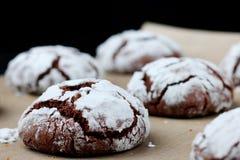 Φρεσκάδα ρωγμών σοκολάτας μπισκότων νόστιμη έννοια επιδορπίων μπισκότα για τα Χριστούγεννα holidayand στοκ εικόνες