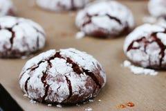 Φρεσκάδα ρωγμών σοκολάτας μπισκότων νόστιμη έννοια επιδορπίων μπισκότα για τα Χριστούγεννα holidayand στοκ εικόνα
