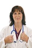 Φροντίζοντας γιατρός που απομονώνεται στο λευκό Στοκ Φωτογραφία