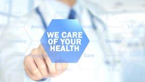 Φροντίζουμε της υγείας σας, γιατρός που εργάζεται στην ολογραφική διεπαφή, γραφική παράσταση κινήσεων Στοκ Εικόνες