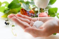 Φροντίδα δέρματος με τα χορτάρια και moisturizer την κρέμα Στοκ Εικόνες