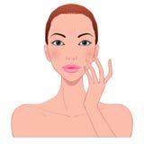 Φροντίδα δέρματος της όμορφης γυναίκας Στοκ εικόνα με δικαίωμα ελεύθερης χρήσης