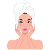 Φροντίδα δέρματος της όμορφης γυναίκας Στοκ εικόνες με δικαίωμα ελεύθερης χρήσης