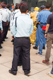 φρουρά ασφάλειας στην πλαστή άσκηση για αντιμετώπιση καταστροφών Στοκ Εικόνα