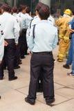 φρουρά ασφάλειας στην πλαστή άσκηση για αντιμετώπιση καταστροφών Στοκ εικόνα με δικαίωμα ελεύθερης χρήσης