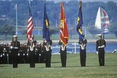 Φρουρά χρώματος Midshipmen, Ηνωμένη Ναυτική Ακαδημία, Annapolis, Μέρυλαντ Στοκ Φωτογραφίες