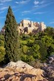 Φρούριο ακρόπολη από το Areopagus στην Αθήνα Στοκ φωτογραφίες με δικαίωμα ελεύθερης χρήσης