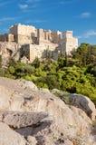 Φρούριο ακρόπολη από το Areopagus στην Αθήνα Στοκ Εικόνες