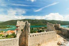 Φρούριο και τοίχοι στο Μαλί Ston, Peljesac, Δαλματία, Κροατία Στοκ φωτογραφία με δικαίωμα ελεύθερης χρήσης
