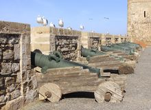 Φρούριο σε Essaouira με τα παλαιά πράσινα πυροβόλα όπλα και sea-gulls που προσέχουν στους παλαιούς τοίχους, Μαρόκο Το Essaouira ε στοκ φωτογραφίες
